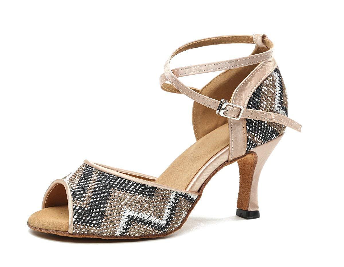 Qiusa GL247 Damen Cross Strap Glitter Latin Tanzschuhe Party Sandalen (Farbe   Nude-7.5cm Heel Größe   2.5 UK)