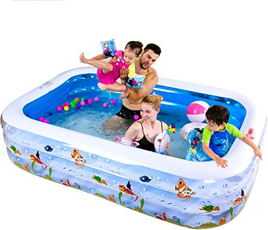 QINGTAOSHOP Piscina de PVC Inflable Rectangular Piscina para el ...