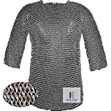Medieval Hauberk Armour Chainmail Shirt 10 mm Round Riveted- Medium