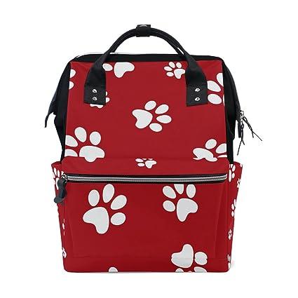 TIZORAX - Mochila para bebé con diseño de huellas de perro, color rojo, de