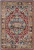 Safavieh Bijar Collection BIJ605R Traditional Oriental Vintage Red and Royal Blue Area Rug (6'7″ x 9′)