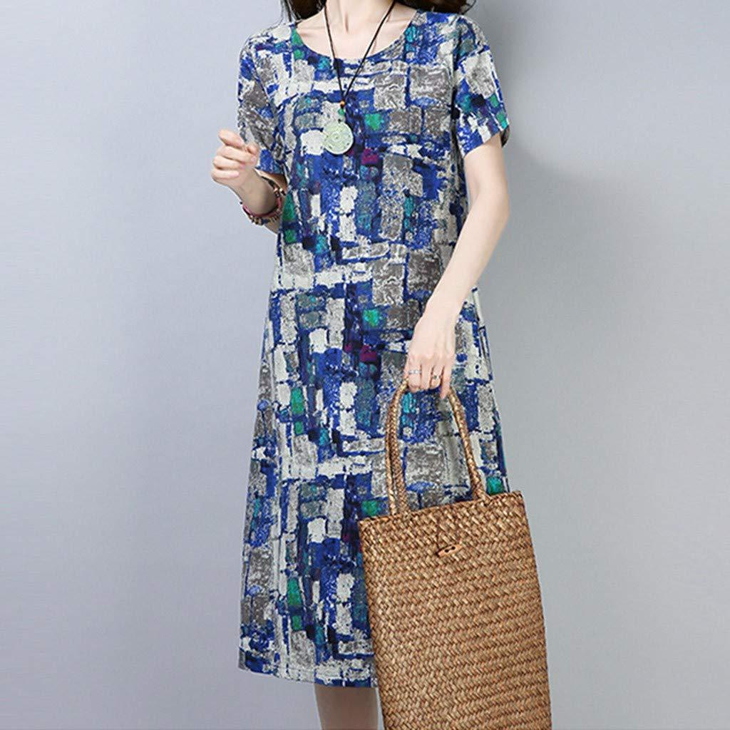 kolila Women Boho Dress Sale Casual Print Irregular Maxi Dresses Vintage Loose Short Sleeve Long Dresses with Pocket