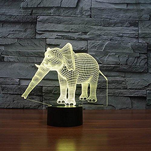 3D LED Elephant Shapes Light, EONSMN Animals Cute 7 Changing Colors Optical Illusions Desk Lamp, Best for Children Gift Bedroom Decorations