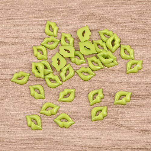 - 50pcs Red Cute Lips DIY Buttons Sew Craft Custome Bag Decor Accessory Plastic (Color - Green)