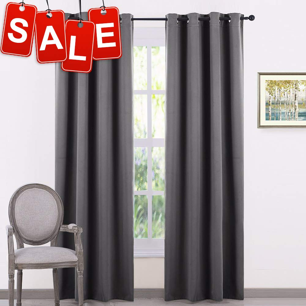 PONY DANCE Grey Blackout Curtains - Window Curtain 2 Panels for Bedroom Home Decor Thermal Insulated Drapes Light Block Cover Noise Reducing for Living Room, 52 by 84 Inches, Gray, Set of 2