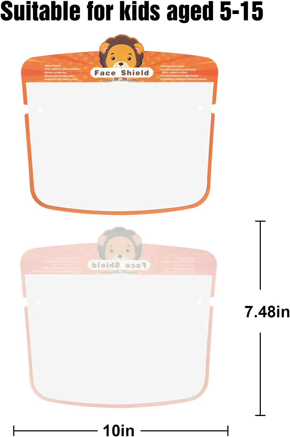 Lood 【Shipment from USA】 4 pcs Kids Face Transparent Bandanas with Clear Window Visible Expre,Elastic Band,Breathable Comfortable
