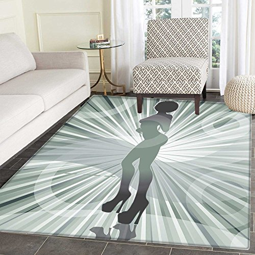 - African American Print Area Mat an Afro American Woman in High Heels Silhouette with Ray Background Pattern Perfect for Any Room, Floor Carpet 4'x6' Black