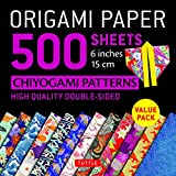 """Origami Paper 500 sheets Chiyogami Patterns 6"""" 15cm: Tuttle Origami Paper: High-Quality Origami Sheets Printed with 12 Different Designs: Instructions for 8 Projects Included"""