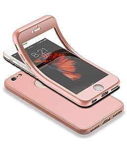 """HICASER iPhone 6s 360 Gradi Custodia + Pellicola Vetro Temperato Full Body Ultra Sottile Morbido TPU Antiscivolo Protettiva Case per iPhone 6 / 6s 4.7"""" Rose Oro"""