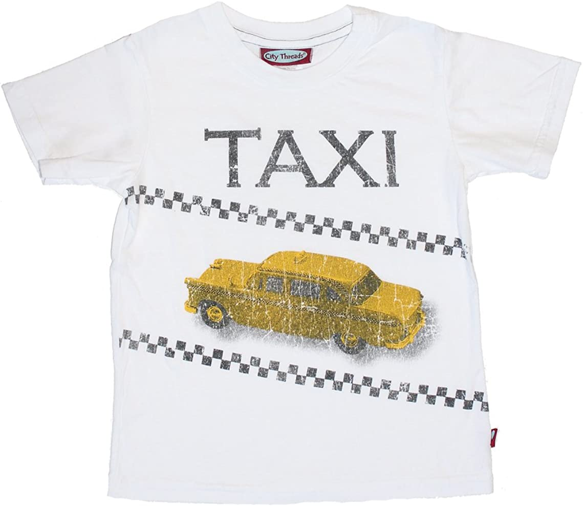 City Threads Little Boys Taxi Tee in White c