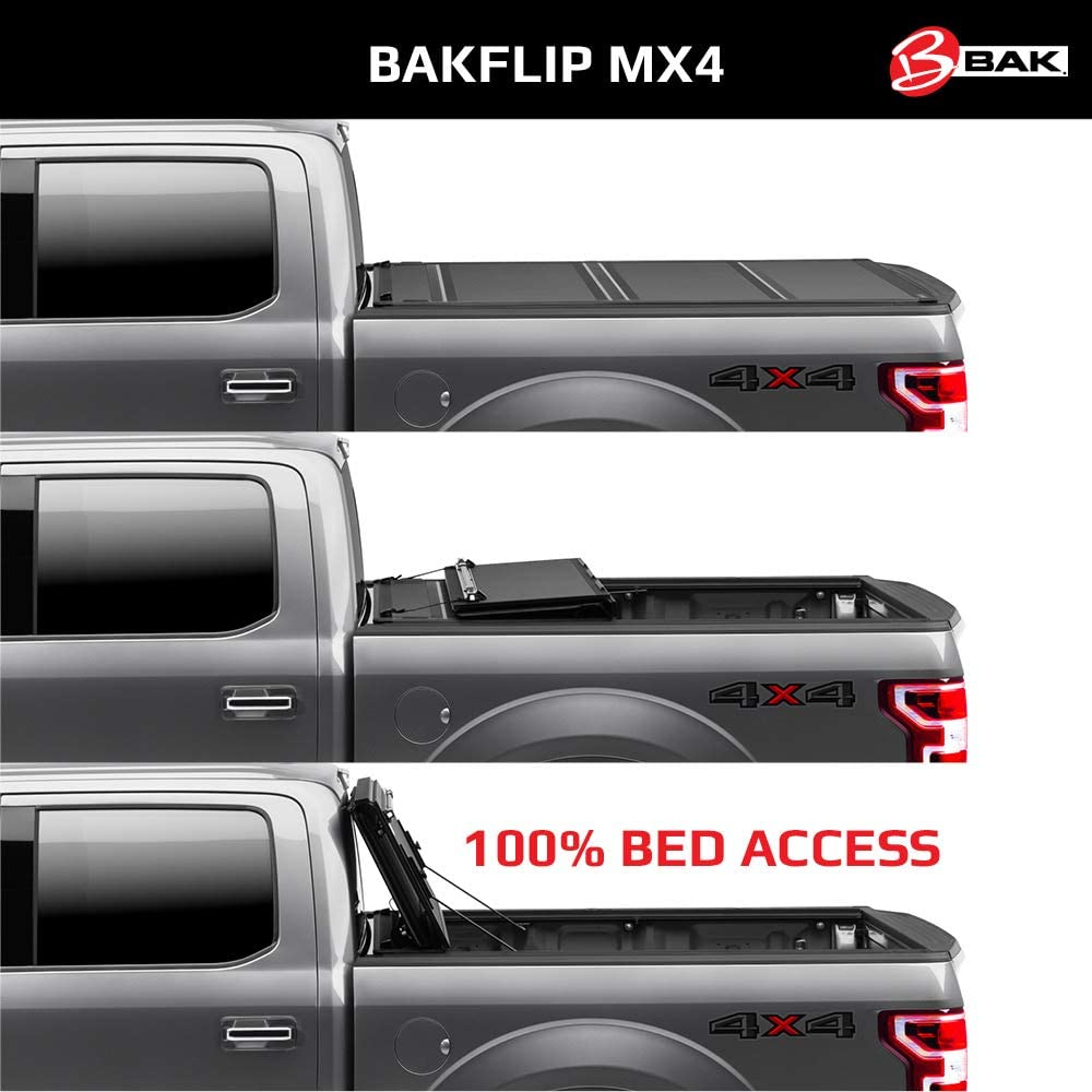 Amazon Com Bak Bakflip Mx4 Hard Folding Truck Bed Tonneau Cover 448426 Fits 2016 2021 Toyota Tacoma W Oe Track System 5 1 Bed 60 5 Automotive