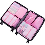8 Set Suitcase Packing Cubes-Travel Luggage Packing Organizers Cube Luggage Compression Pouches Waterproof Lightweight -5 Colour Options(Pink)