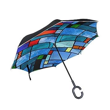 BENNIGIRY - Paraguas invertido con Textura de Cristal Colorido, Doble Capa, protección contra Rayos