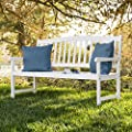 Best Choice Products Classic Wooden Outdoor Bench for Patio, Garden, Backyard, Porch - White