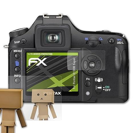 atFoliX Protección de Pantalla para Pentax K100D Super Lámina Protectora Espejo, Efecto Espejo FX Protector