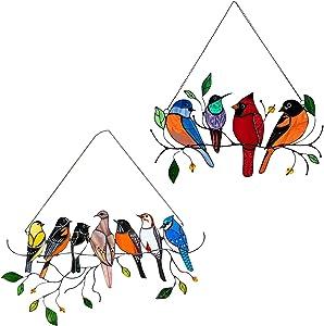 2 Pack Multicolor Birds on a Wire Garden Art - Acrylic Suncatcher Window Panel Hanging Ornaments - Bird Series Sculptures Pendant on Windows Doors Home Decoration for Patio Yard Decor Gifts