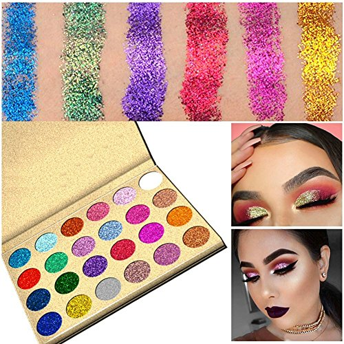SUNTRIC 24 Color Highly Pigmented Diamond Glitter Rainbow Eye Shadow Palette Flash Shimmer Eyeshadow Make Up Palette by SUNTRIC (Image #1)