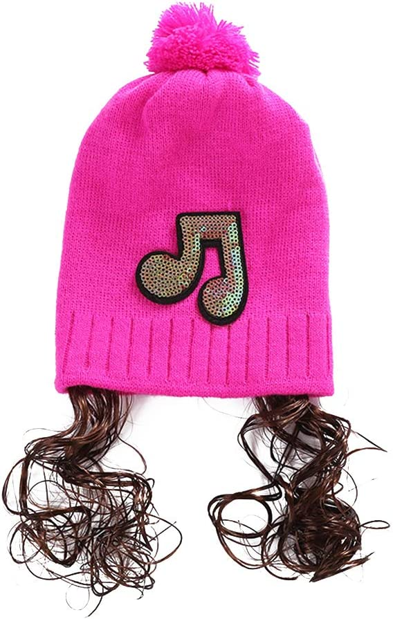Homeofying Baby Girls Autumn Winter Paillette Music Mark Wig Beanie Cap Knitting Ball Pompom Hat For Baby Girl 3-18 Month Black