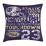Ambesonne Sports Throw Pillow Cushion Cover, Retro Style American Football College Theme Illustration Athletic Championship Apparel, Decorative Square Accent Pillow Case, 18 X 18 inches, Purple