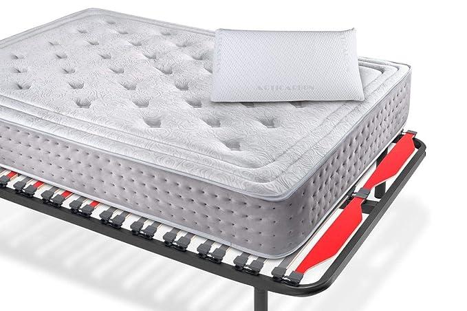 KAMA HAUS | Pack Colchón VISCOGRAFENO Elite + Somier Luxury 40x30mm + Almohada viscoelástica Carbono Activo 80 cm | 80 x 180 cm.