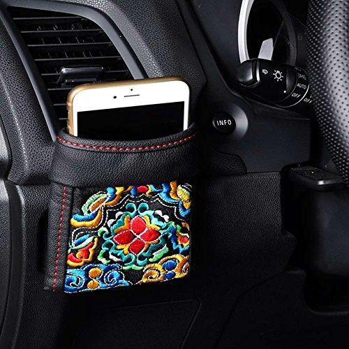 ZZCP DriverPockets Car Vent Cell Phone Holder- Leather and Embroidery Bag Organizer Convenient Storage for Sunglasses Pens and Mobile Phones (Black)