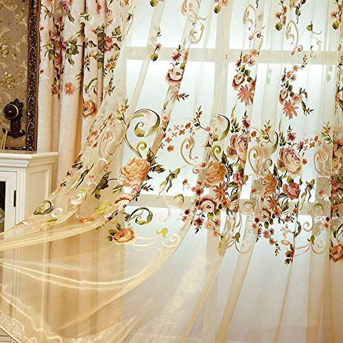 pureaqu Luxury Embroidered Sheer Voile Curtains for Bedroom 84 Inches Long Floral Design Window Treatment Panels Tulle Rod Pocket Gauze Drapery for Sliding Glass Door 1 Panel W75 x H84 Inch