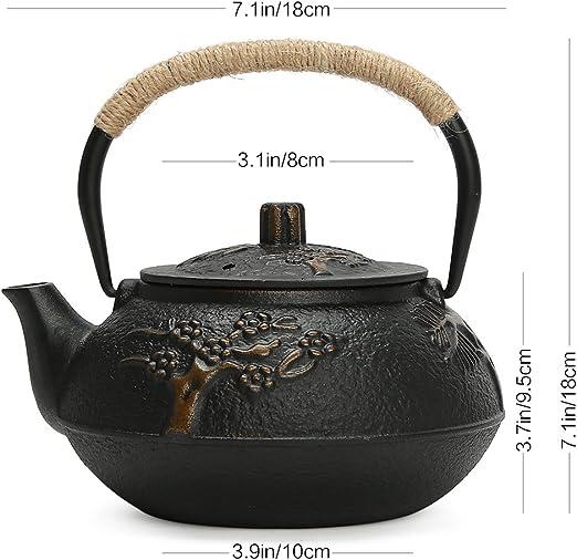 Hwagui de color negro y 800 ml tendr/á capacidad electrica de alta te tetera de hierro chino tetera con infusor antigua