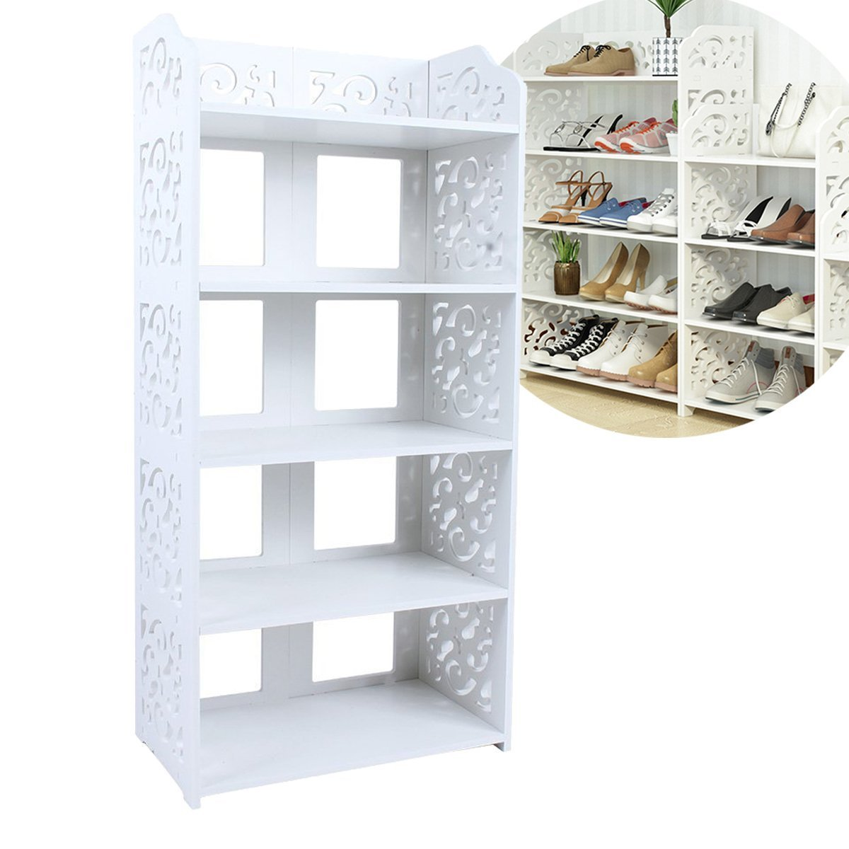 Estink 5-Tier Shoe Rack,Freestanding White Chic Hollow Out Shoe Tower Organizer Cabinet Shoe Closet Baroque Storage Organizer Stand Shelf Holder Unit Shelves,15.74'' x 9.05'' x 35.43''