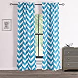 RHF Chevron Curtains-Polyester & Cotton, Teal and White Chevron curtains for living room, Two panels 84, 2 Panels 28W by 84L Inches-Teal/White Review