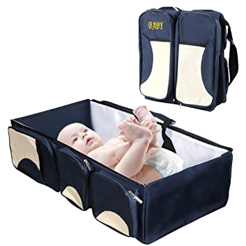 acrato 3 in 1 portable baby bed diaper bag baby change station cooling