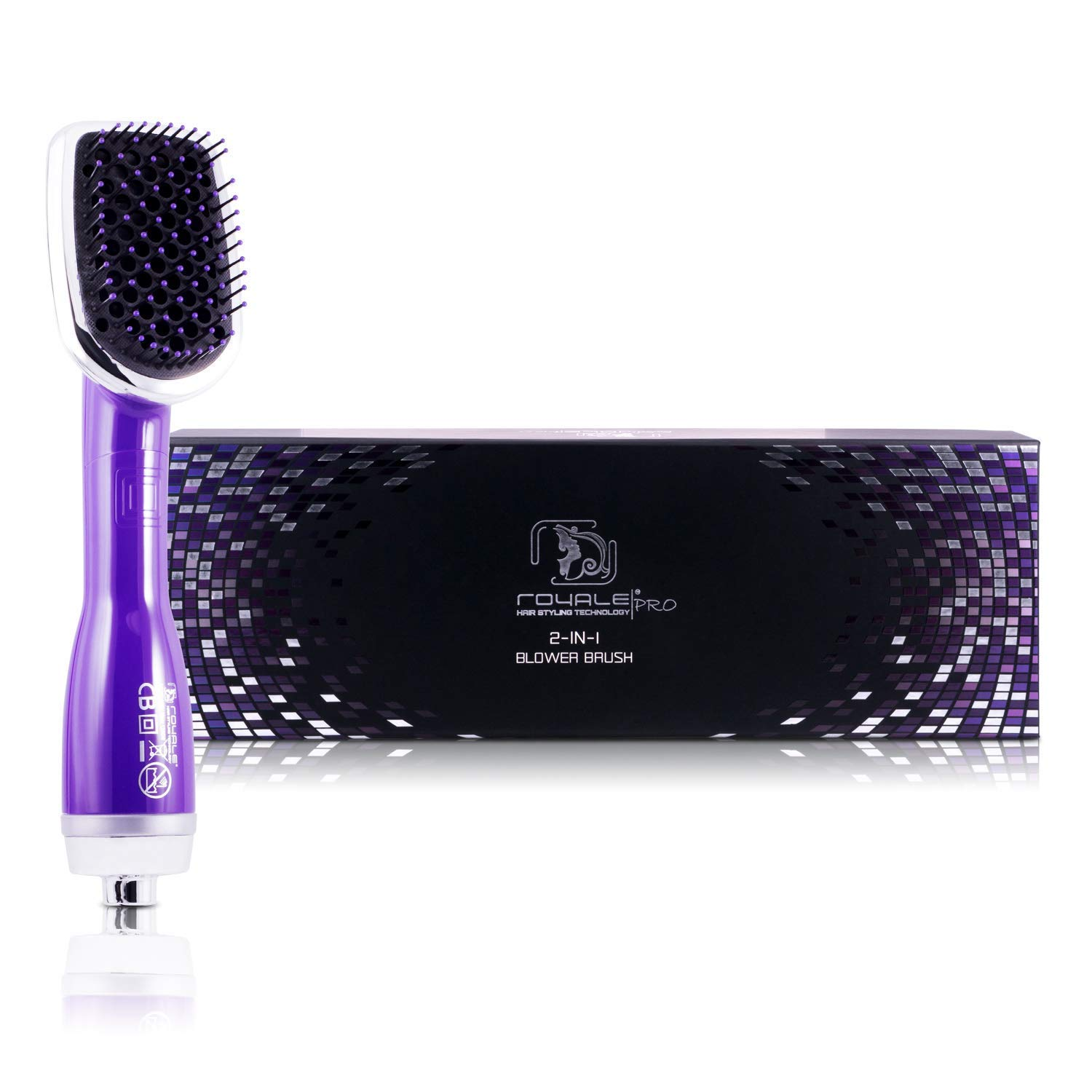 Professional Hairstyling Royale 3 in one Blower Brush 2000 Set - Interchangeable Attachments - Volumizes, Straightens and Curls - Tourmaline Technology - Purple