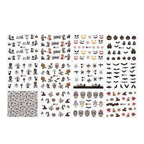 1pc/12sets Nail Manicure Decals Halloween Christmas Stickers Set Nail Art DIY Tools -