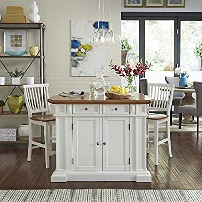 Superb Americana White And Distressed Oak Kitchen Island And Stools By Home Styles Pdpeps Interior Chair Design Pdpepsorg