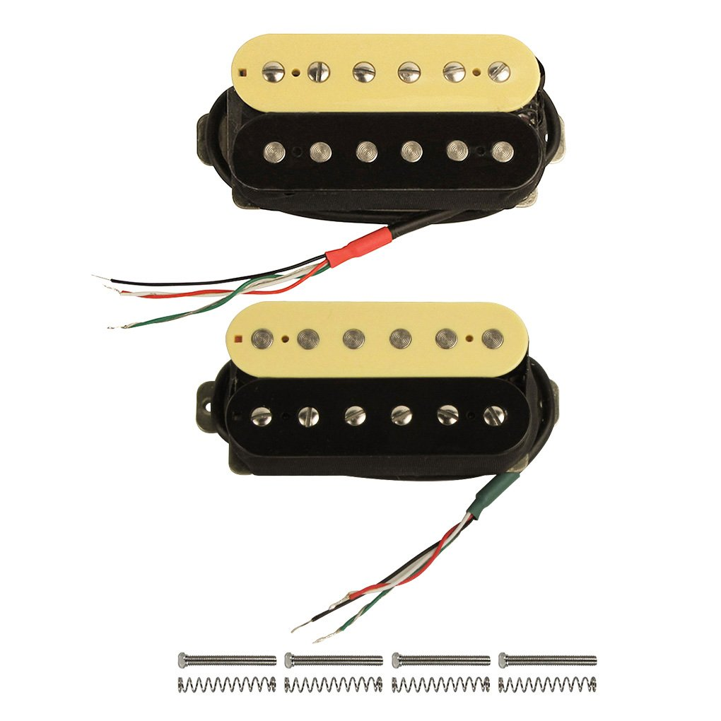 FLEOR High Output Alnico V Guitar Pickup Double Coil Humbucker Pickups Neck and Bridge Set (Cream+Black)