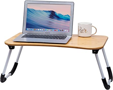 ZHU CHUANG Multifunctional Lap Desk Breakfast Serving Bed Tray Sofa Tray with Foldable Legs Natural Color 100/% Solid Bamboo Simple Black 2