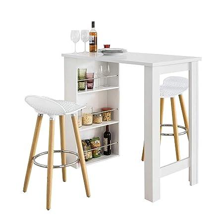 SoBuy Set Tavolo Alti da Bar con 2 sgabelli Tavolo Cucina con sedie,Tavolo  in Altezza 105 cm,Bianco FWT17-W+FST35-WX2