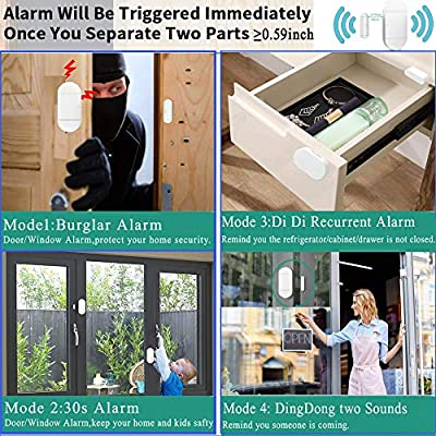 Door Window Pool Alarm with Remote Control,2Pack 130dB Wireless Magnetic Sensor Anti-Theft Door Alarms for Kids Safety Home Store Garage Apartment Business Security: Camera & Photo
