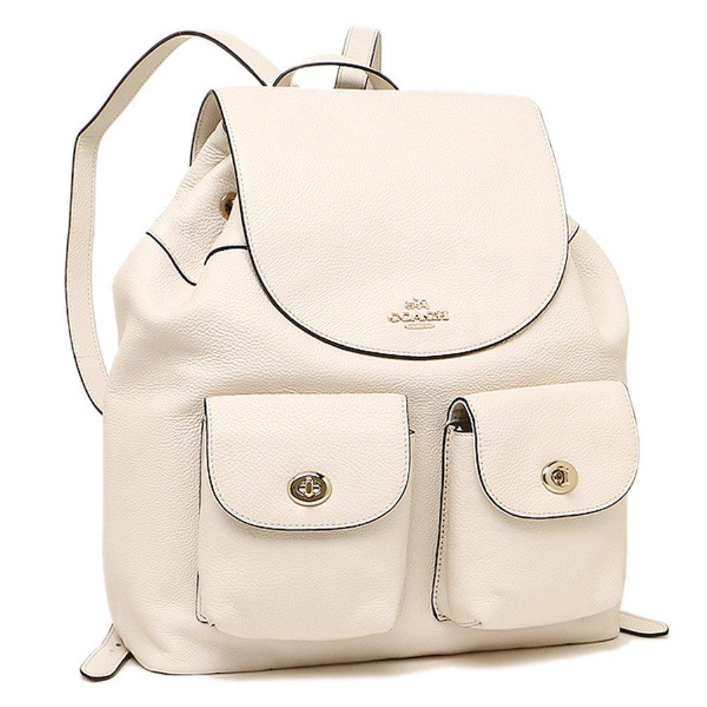Coach Pebble Leather Backpack Bag Handbag Purse - Chalk