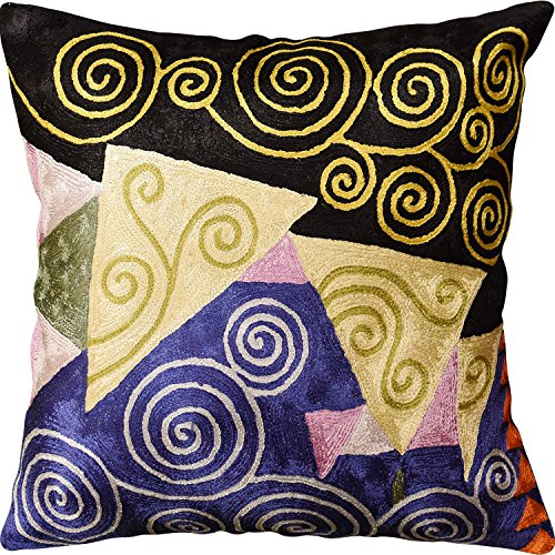 "Kashmir Designs Klimt Blue Black Jewel Tree of Life Throw Pillow Cover Handmade Art Silk 18""x18"""