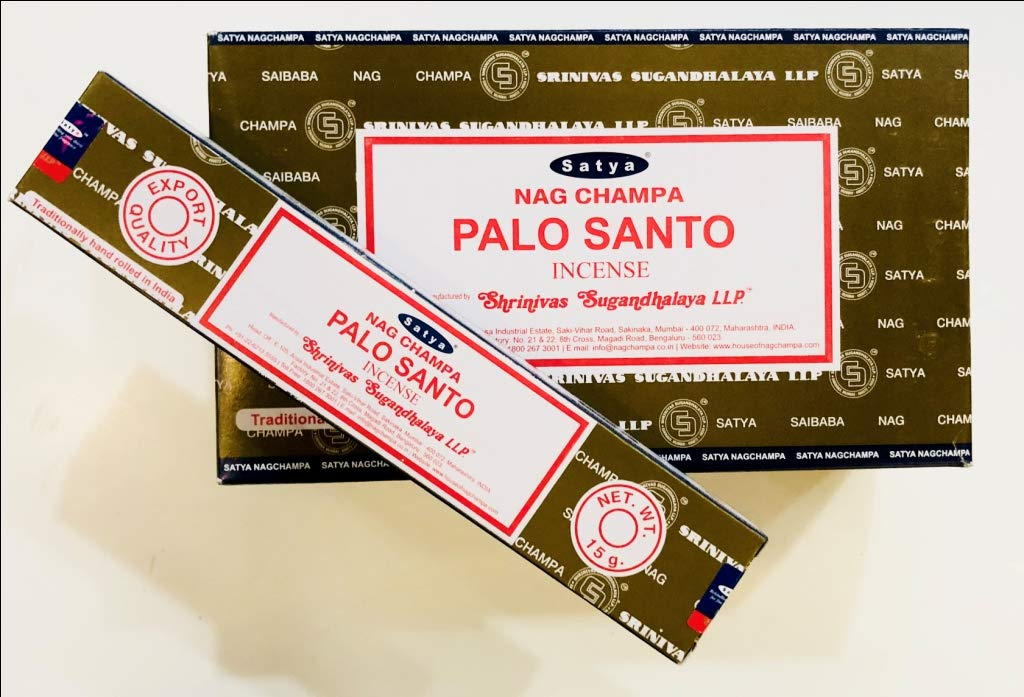 Satya Nag Champa - Palo Santo Incense Sticks   12 Packs x 15 Grams   Box of 180 Grams   Export Quality by Satya Sai Baba