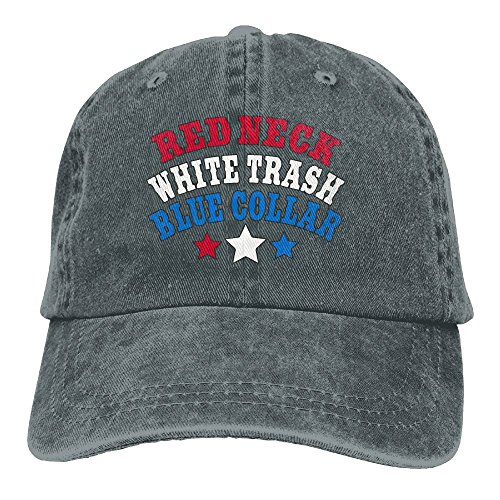Men Women Adjustable Vintage Jeans Baseball Cap Red Neck White Trash Blue Collar Snapback -