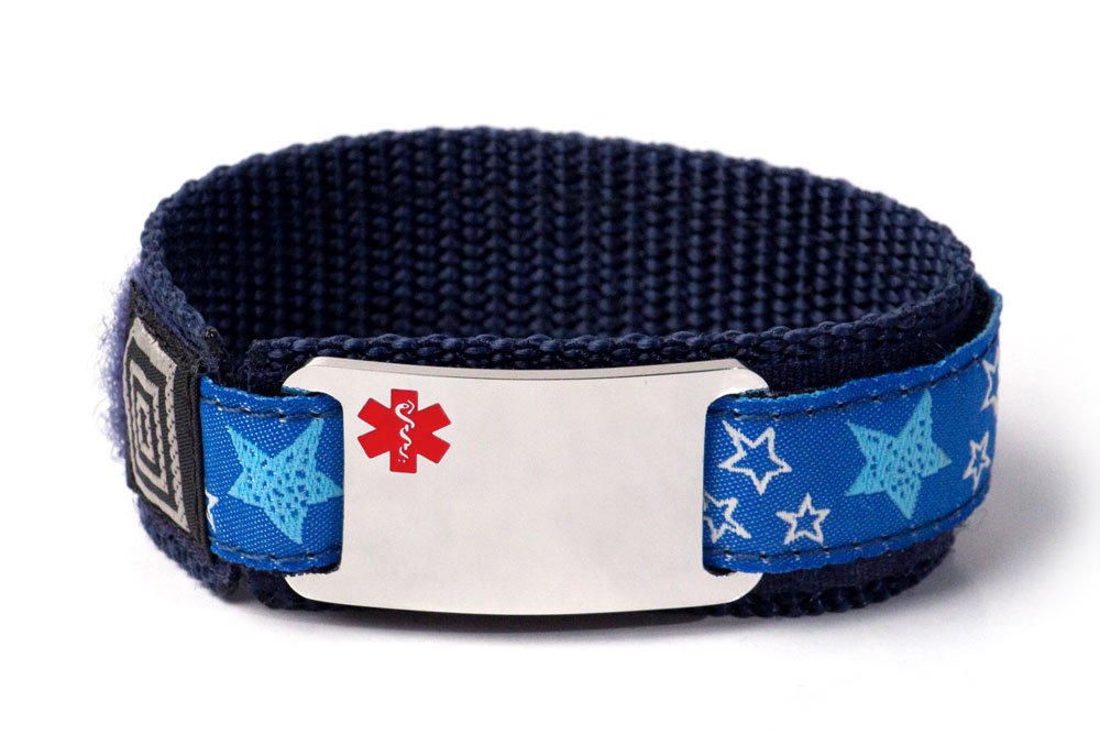 Customized Sport Medical Alert ID Bracelet for Kids with Red Emblem and adjustable wristband.