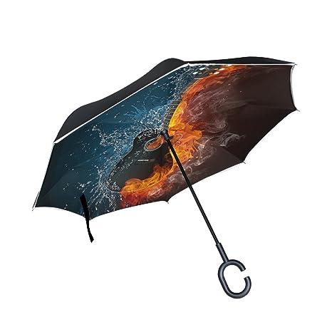 COOSUN Guitarra eléctrica del fuego y del agua de la capa doble del paraguas invertido inversa