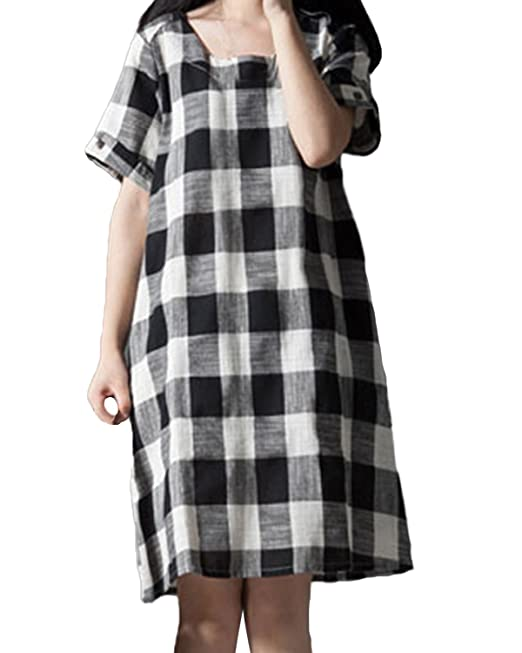 32fd04b3c ACHIOOWA Mujer Vestido Cuello Redondo Manga Corta Dress Bolsillo Botš®n  Linea A Cuadro Check Plaid Elegante Casual Vintage Suelto Oversize Falda  Negro 2XL  ...