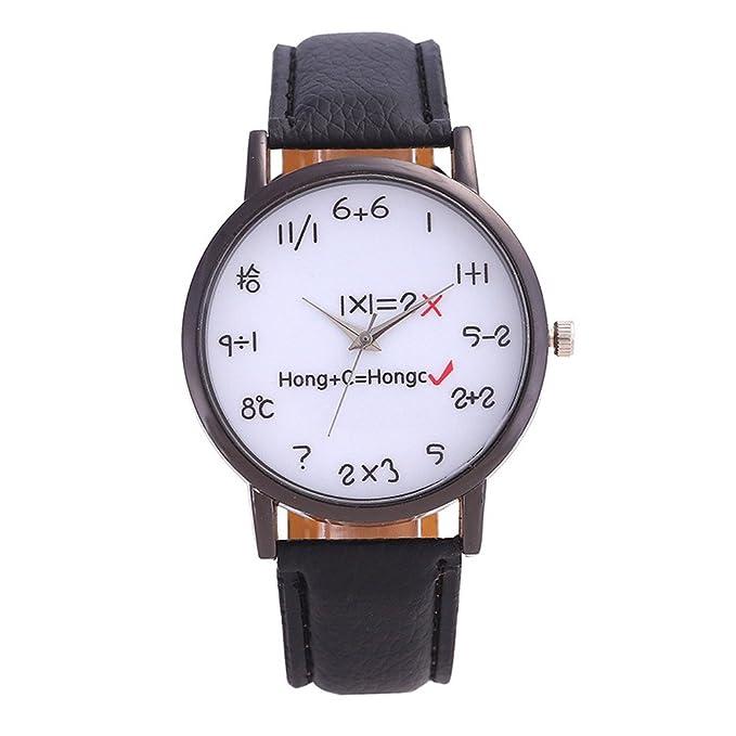 DressLksnf_Reloj Original Moda de Mujer Pulsera Deportiva Banda de Cuero Reloj Cadena Ajuste Elegante Color Puro Simple Acero Inoxidable Durable Digital ...