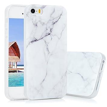 KASOS Funda Carcasa para iPhone 5 5S SE Case TPU Ultrafina Suave con Tratamiento Acabado de IMD y Dibujo de Mármol y Color de Blanco Gris