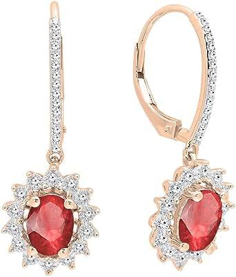 Dazzlingrock Collection Pendientes colgantes de oro de 10 quilates de 7 x 5 mm con piedras preciosas creadas en laboratorio y diamantes redondos para mujer