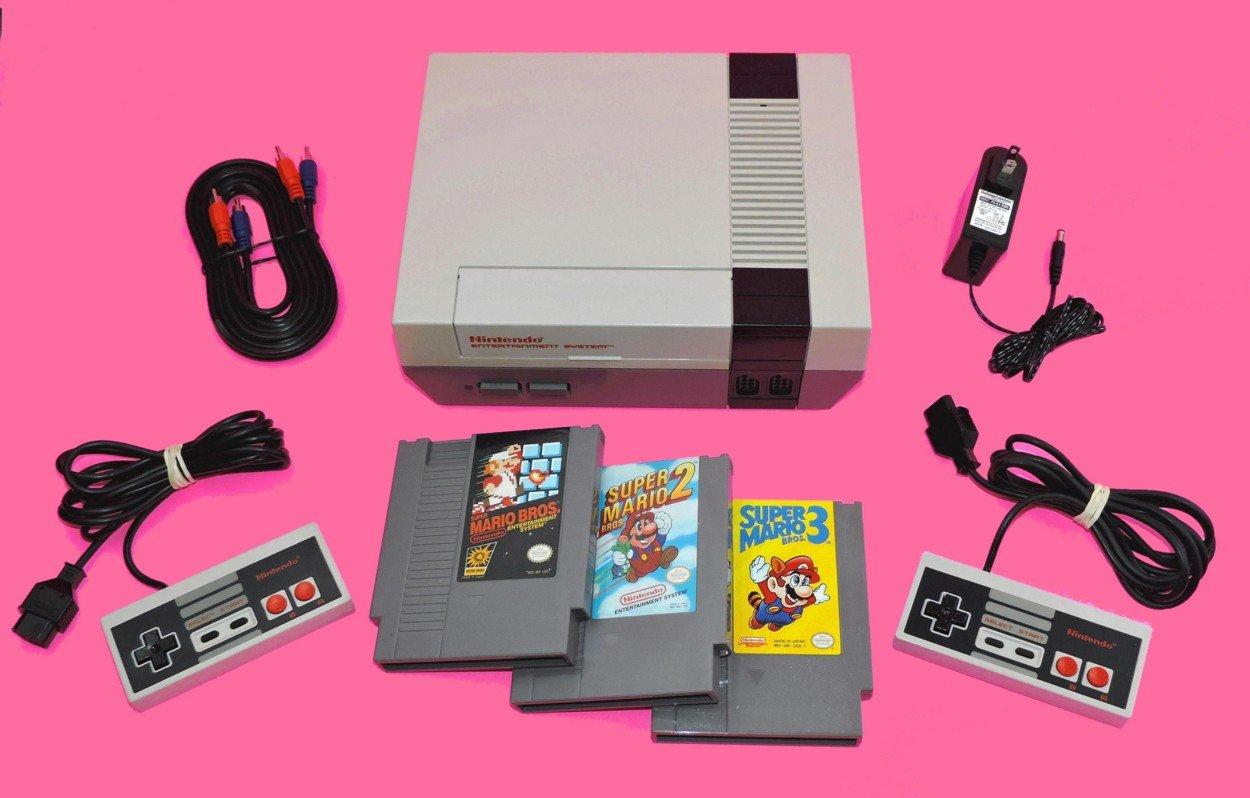 Amazon Com Nintendo Nes Game System With Super Mario Bros 1 2 3 Video Games