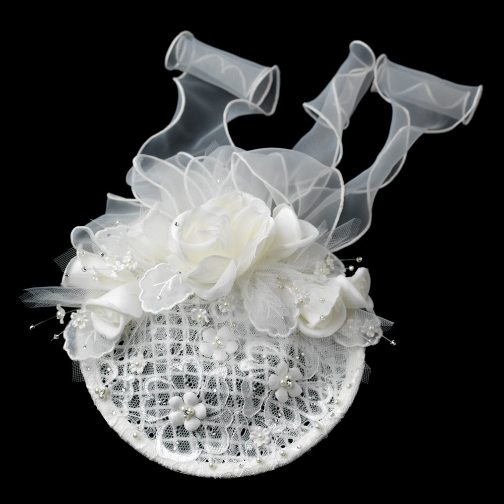 Elaborate Ivory Flower Russian Tulle Pearl Wedding, Bridal, Special Ocassion Cap