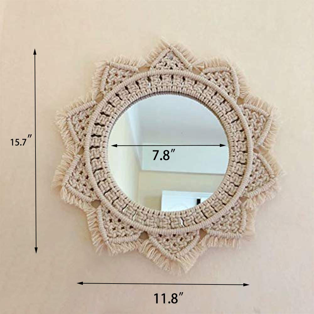 Buy Wall Mirror Macrame Handmade Beautiful Macrames Outsky Hanging Boho Fringe Round Decorative For Apartment Living Room Bedroom Baby Nursery Home Decor Macrame Mirror Update Online At Low Prices In India Amazon In